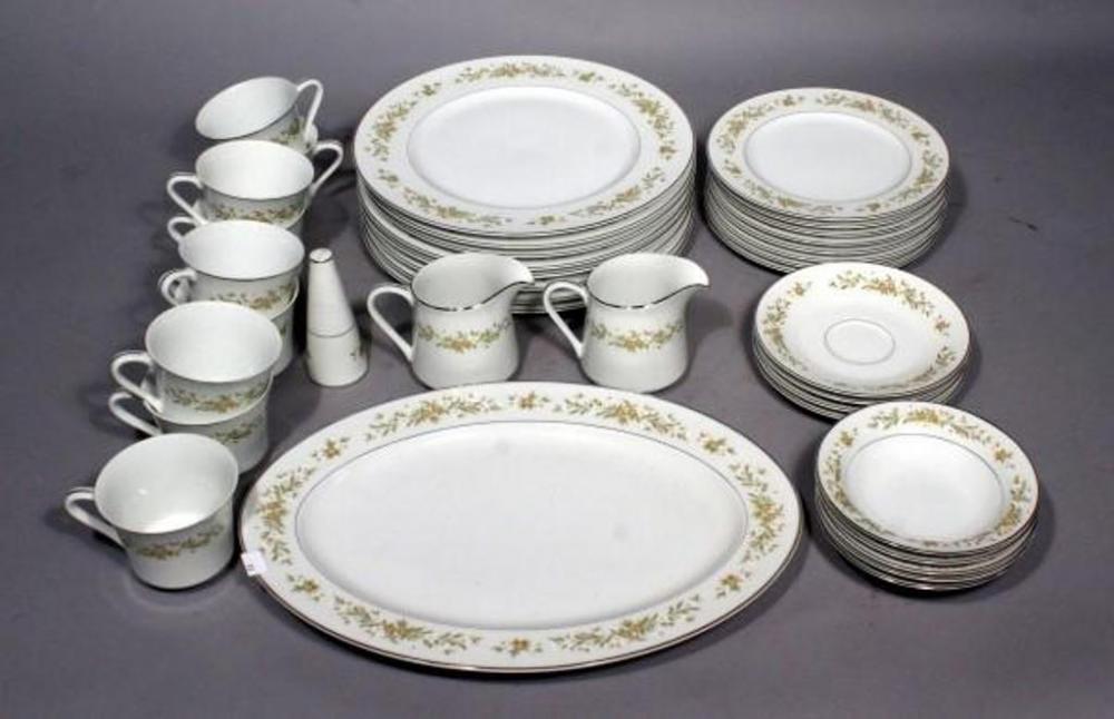 Lot 55 of 445 Style House Fine China Mayfair Dinnerware Set- 8 Dinner Plates 8 Salad Plates 4 Saucers 5 Fruit Bowls 9 Coffee Cups 1 Tray ... & Style House Fine China Mayfair Dinnerware Set- 8 Dinner Plates 8 ...