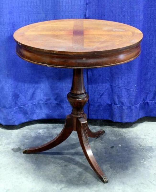 Lot 79 Of 445 Antique Mersman Round Drum Side Table With Metal Claw Feet 24 Dia X 26 H