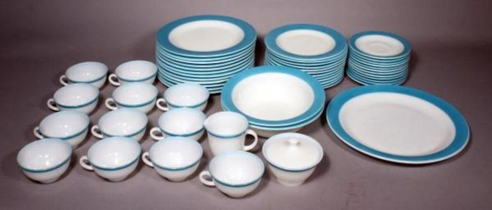 Lot 108 of 445 Vintage Pyrex Dinnerware Set for 12 Pattern Blue Includes 12 Dinner Plates 12 Salad Plates 12 Saucers 12 Coffee Cups Sugar/Creamer ... & Vintage Pyrex Dinnerware Set for 12 Pattern: Blue Includes 12 ...