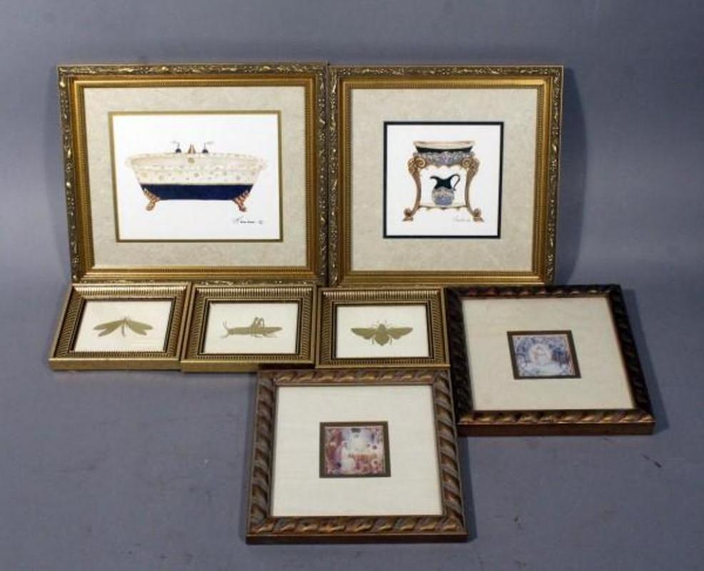 Lot 301b Of 445 Gold Framed Art Prints Bugs Measure 7 X 6 Virgin Mary 9 And Gamboa Bathroom 12
