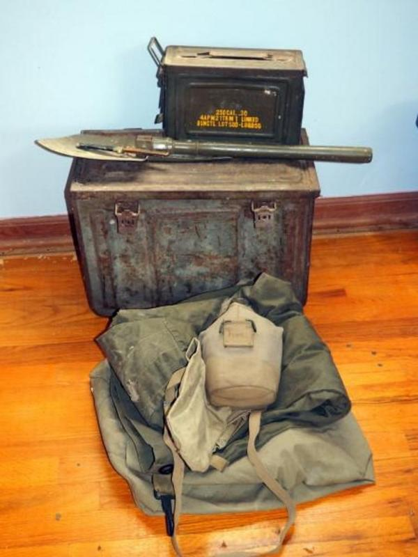 Lot 115 of 443: US Army 30 Cal M1 Ammo Box, Unmarked Ammo Box, Military  Shovel, Atlantic Cutlery Vintage Knife, Noncombatant Gas Mask Bag, Duffle  Bags Qty 2