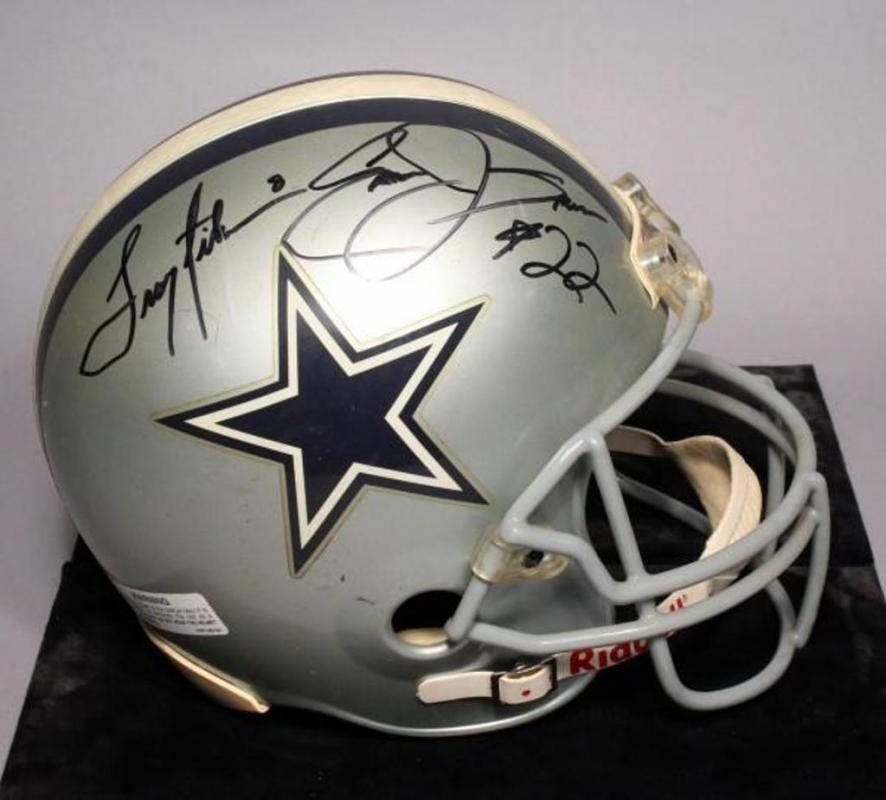 5ddead0e6 Lot 194 of 559  Troy Aikman and Emmitt Smith AUTOGRAPHED Dallas Cowboys  Full Size NFL Riddell Helmet