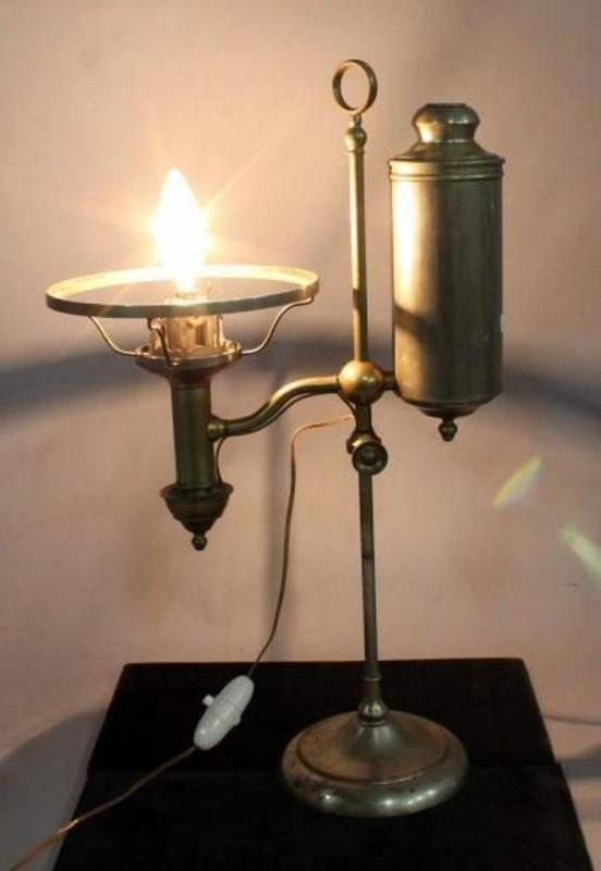 Lot 331 Of 559: 1871 Cleveland Safety Library House Argand Lamp, Converted  Electric, Works, Polished Brass