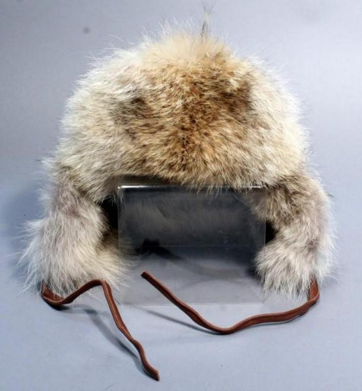 Lot 36 of 490  Cabela s Brown Leather Coyote Fur Winter Trapper Hat 7aba86dba62