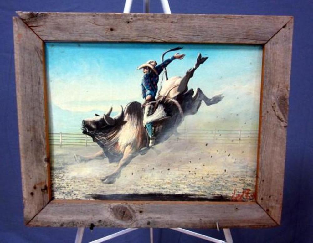 Edward Two Bulls Oil On Canvas Bull Rider Painting, Barn Wood Frame ...