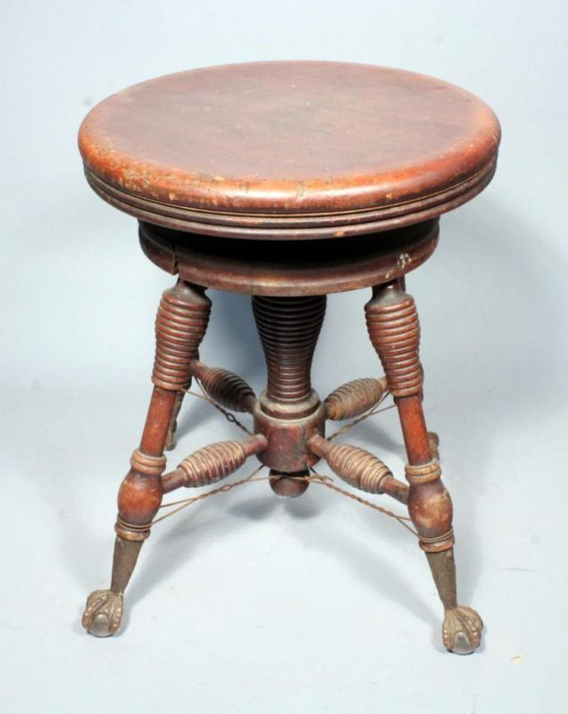 Pleasing Antique Round Wood Piano Stool With Glass Ball And Metal Gamerscity Chair Design For Home Gamerscityorg