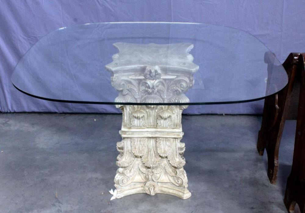 Ornate Plaster Column Base Dining Table With Gl Top 48 X 28