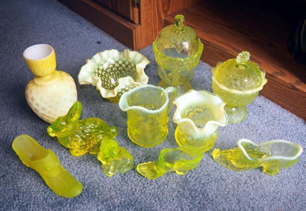 5c0c77749272b Moser Glass Vaseline Opalescent Glass Shoe, Victorian Rose Pattern ...