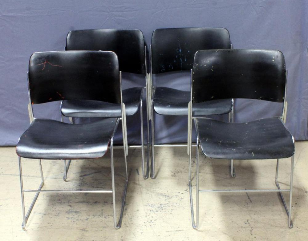 Lot 30 Of 365: Vintage Metal Stacking Chairs, Qty 4