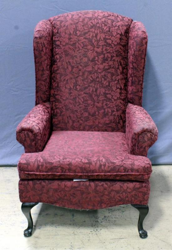 Lot 220 Of 365: Hillcraft Furniture Company Upholstered Wing Back Armchair  With 3 Matching Pillows