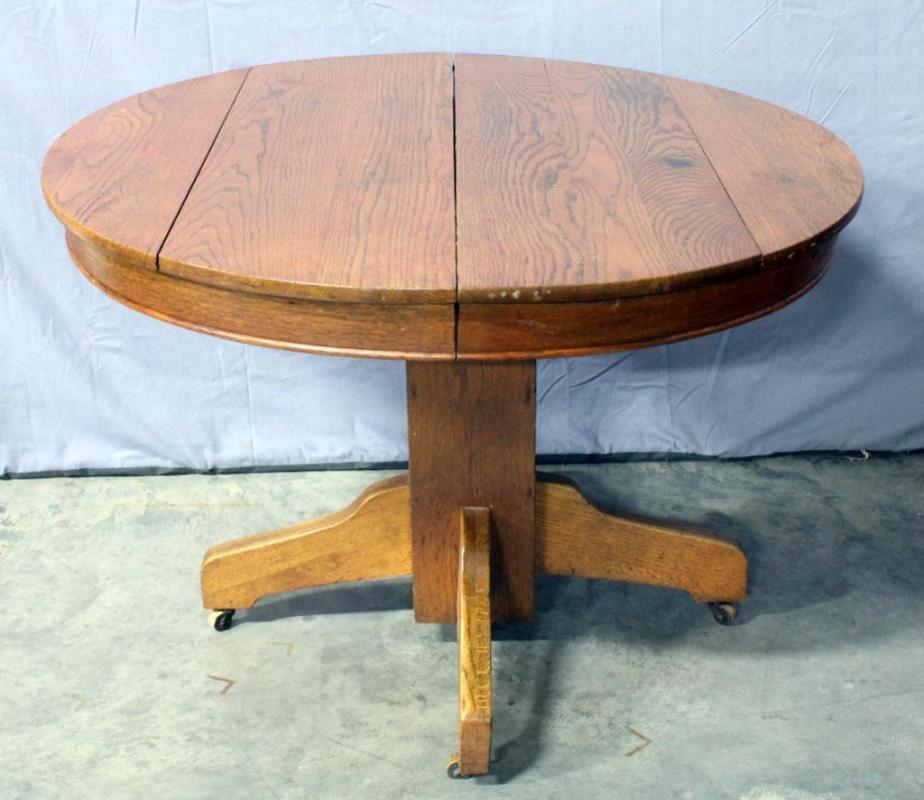 antique oak pedestal table Antique Oak Round Pedestal Dining Table on Casters, 42.5