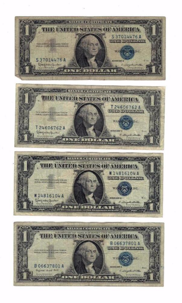 1935 and 1957 Series Blue Seal $1 One Dollar Silver Certificates ...