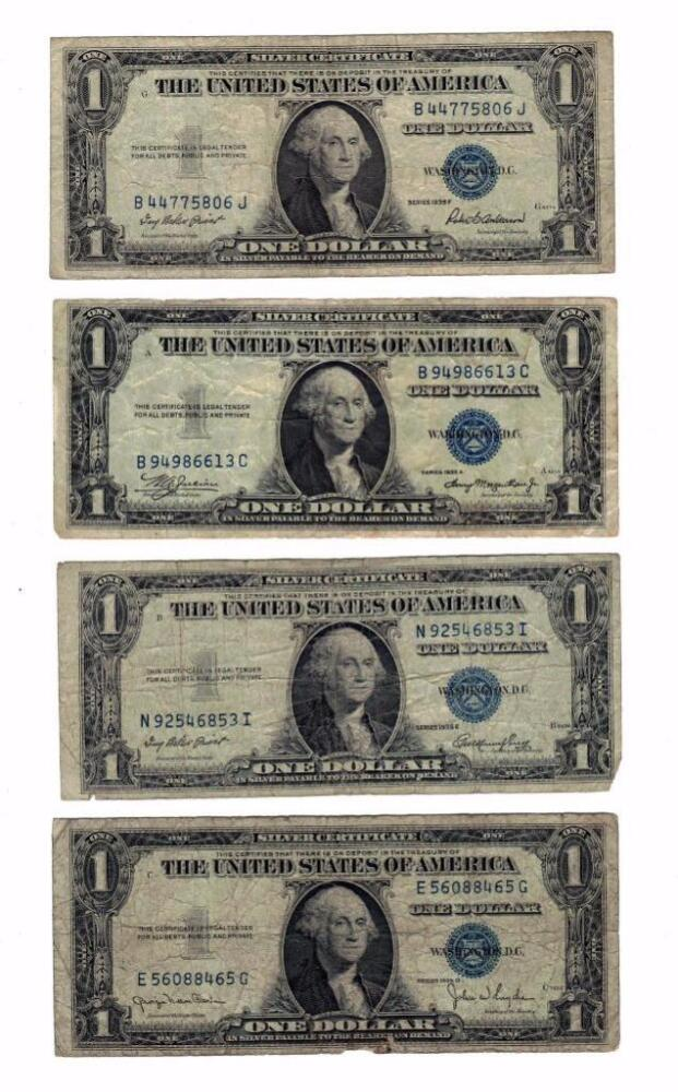 1935 And 1957 Series Blue Seal 1 One Dollar Silver Certificates