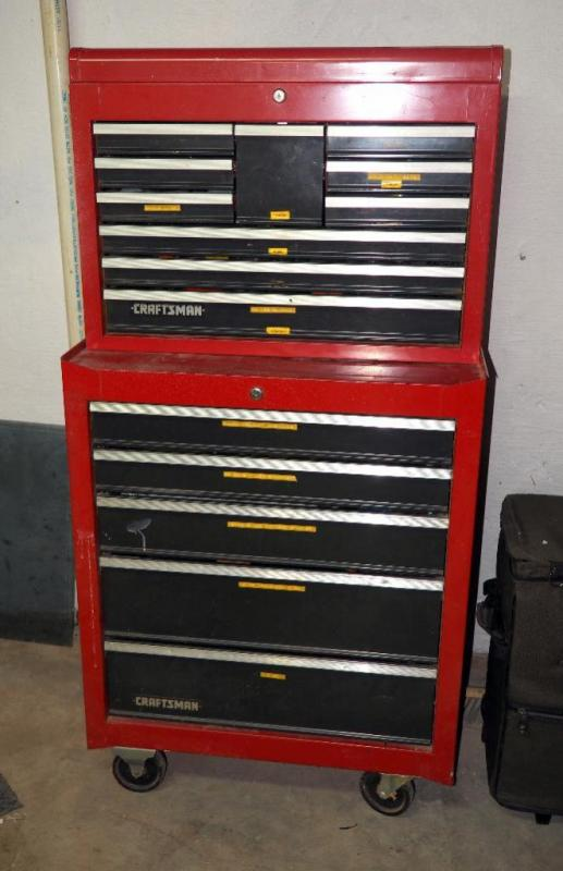 Lot 60 of 120 Craftsman Rolling Two Tier Mechanics Tool Box Contents Not Included & Craftsman Rolling Two Tier Mechanics Tool Box Contents Not Included