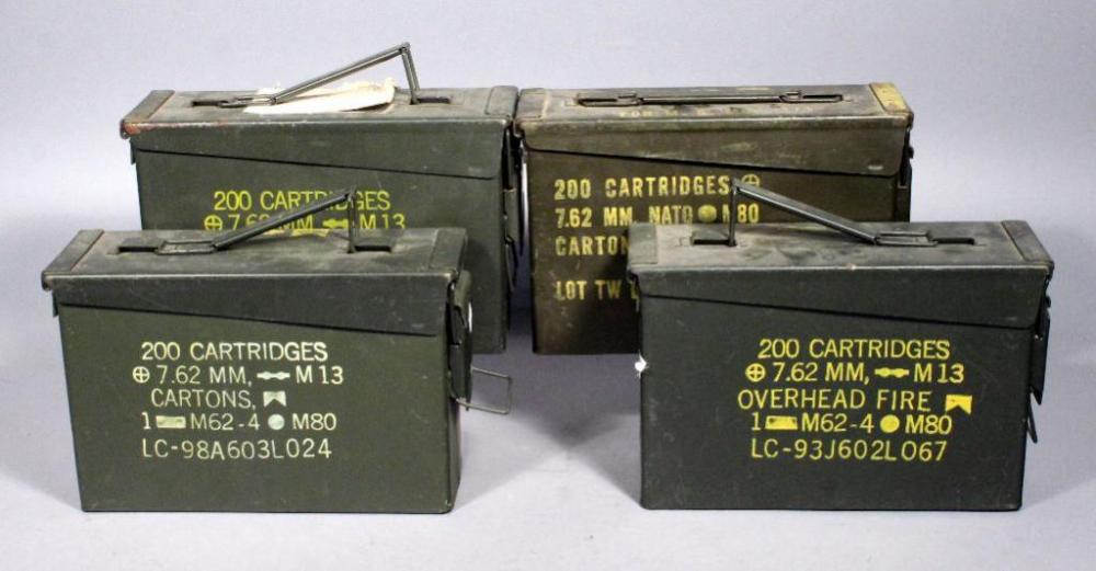Lot 512 of 612 US Military Metal Ammo Cans / Storage Boxes Qty 4 7.62 mm & US Military Metal Ammo Cans / Storage Boxes Qty 4 7.62 mm