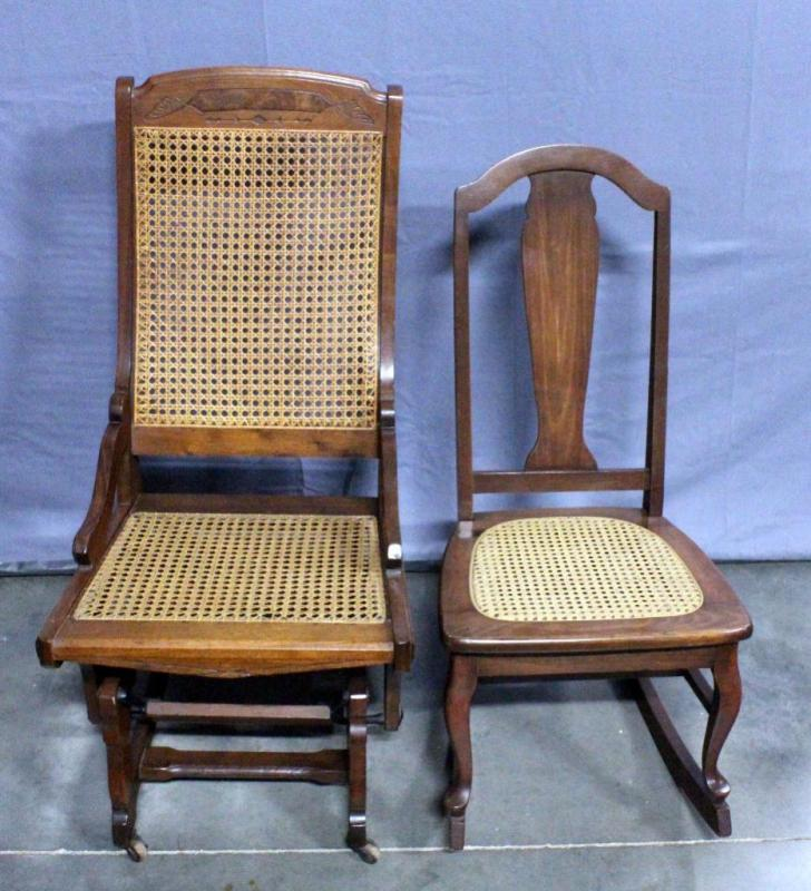 Lot 19 Of 242: Vintage Cane Seat Rocker / Rocking Chair And Glider On  Casters, Small Rocking Chair Missing Dowel On Bottom