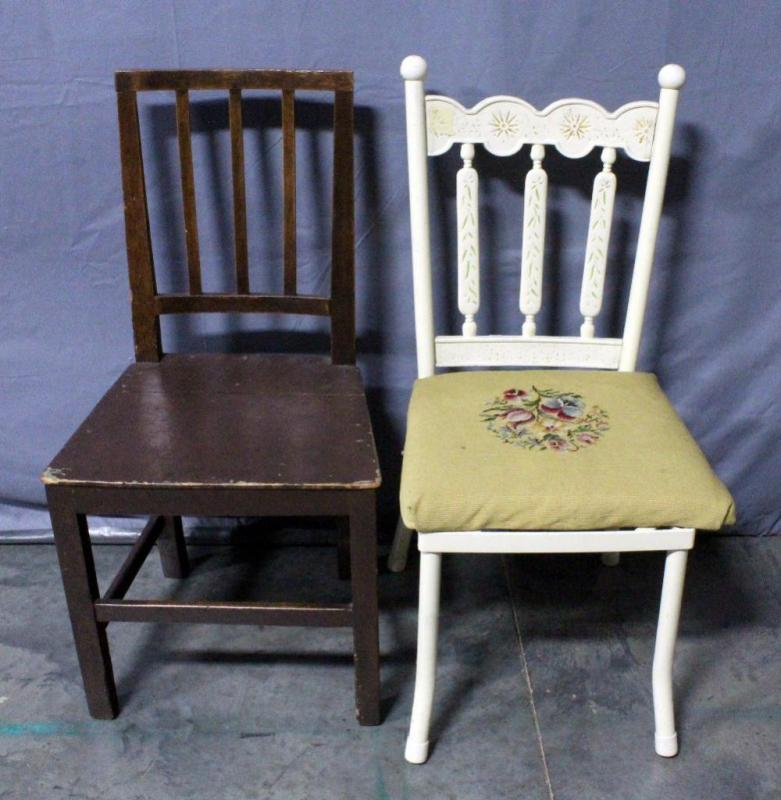 Painted Metal Chair With Detached