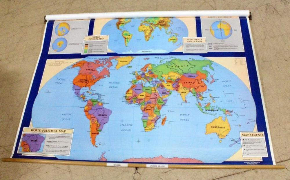 Vintage School US and World Maps Double Layer Pull-Down Maps, 67.5\
