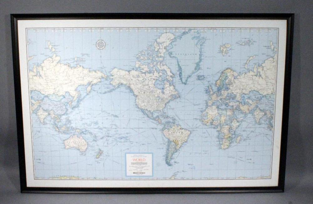 Rand McNally LARGE Cosmopolitan Series Decorative World Map, Framed on