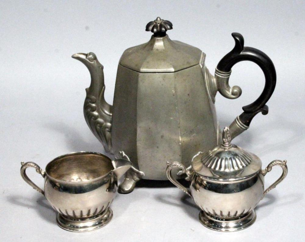 Lot 124 Of 356 Antique 19th Century Reed Barton Pewter Coffee Pot 1756 And Unmarked Sugar Creamer Dishes