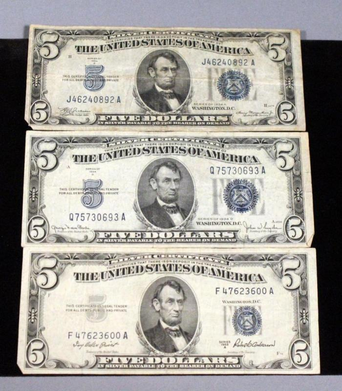 $5 Silver Certificate Blue Seal Bank Notes, Qty 3, 1934 A, 1934 D ...