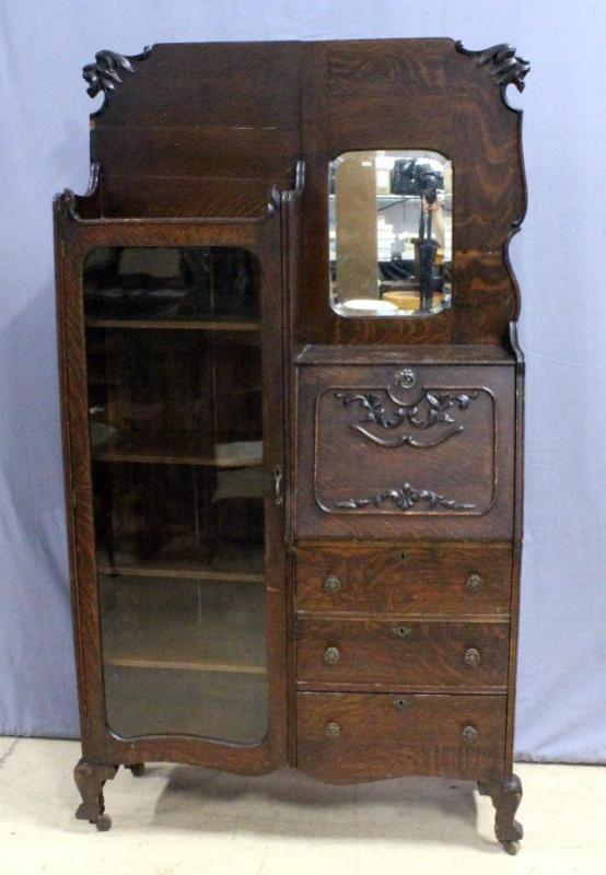 Lot 70D of 341: Primitive Side-by-Side Secretary Desk with Carved Griffin  Detail, Glass Front Cabinet, Mirror, Casters, & Dovetail Constructed  Drawers, ... - Primitive Side-by-Side Secretary Desk With Carved Griffin Detail