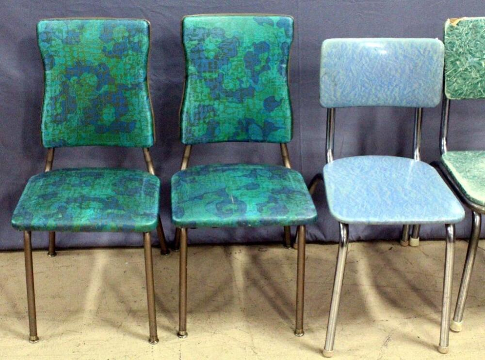 Lot 94A Of 341: Retro Vinyl Chairs, Qty 4