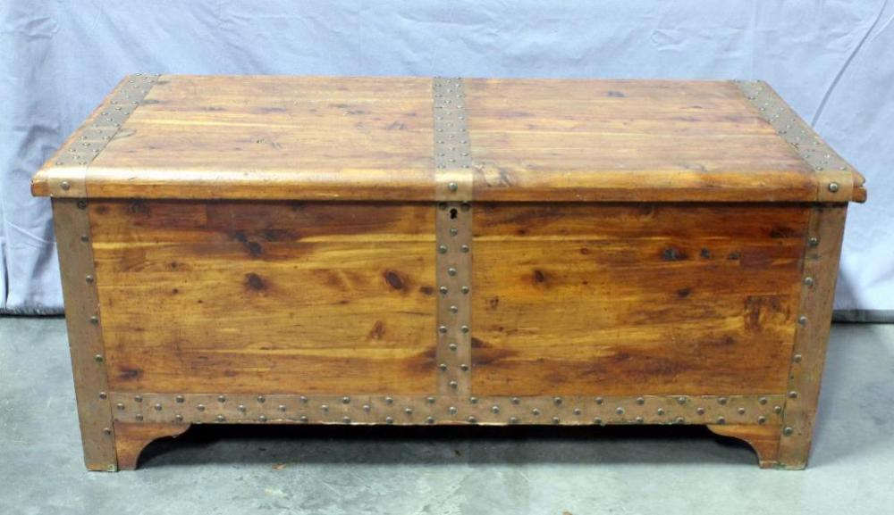 Lot 21 Of 297 Red Cedar Chest Company The Standard With Metal Banding And Rivets 46 W X 20 H 22 D
