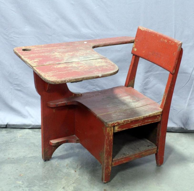 Lot 31 of 297: Antique School Desk with Inkwell Cutaway and Under Seat  Cubby Hole, 20
