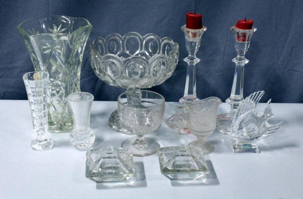 Thumbprint Compote Dish Crystal Candlestick Holders Pressed Glass