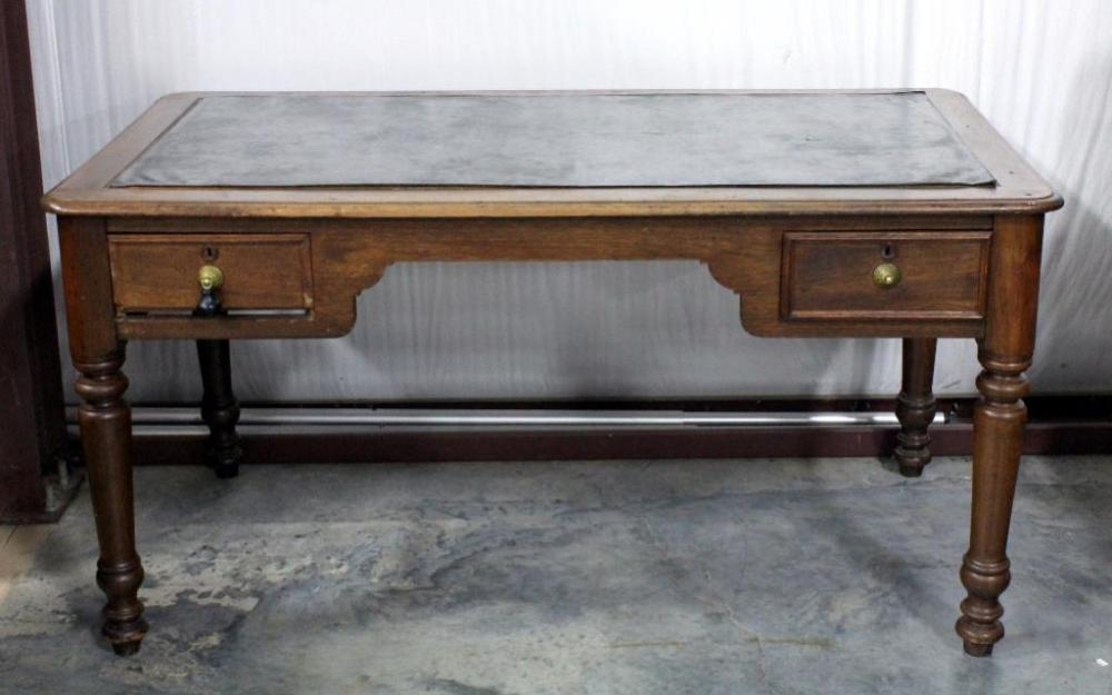 Lot 9a Of 277 Executive Writing Desk With Leather Inlay Top Dovetail Constructed Drawers 60 W X 31 H 33 D Is Loose From Table