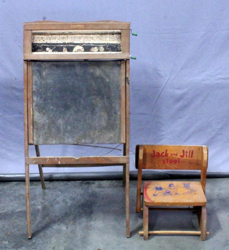 Lot 61 Of 277: 1936 Richmond School Furniture Co Blackboard Easel, And  Vintage Jack And Jill Wood Step Stool / Chair