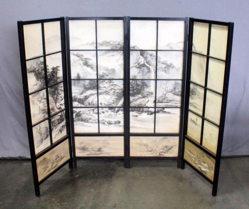 Oriental Style 4 Panel Short Room Divider Screen 69W x 48H
