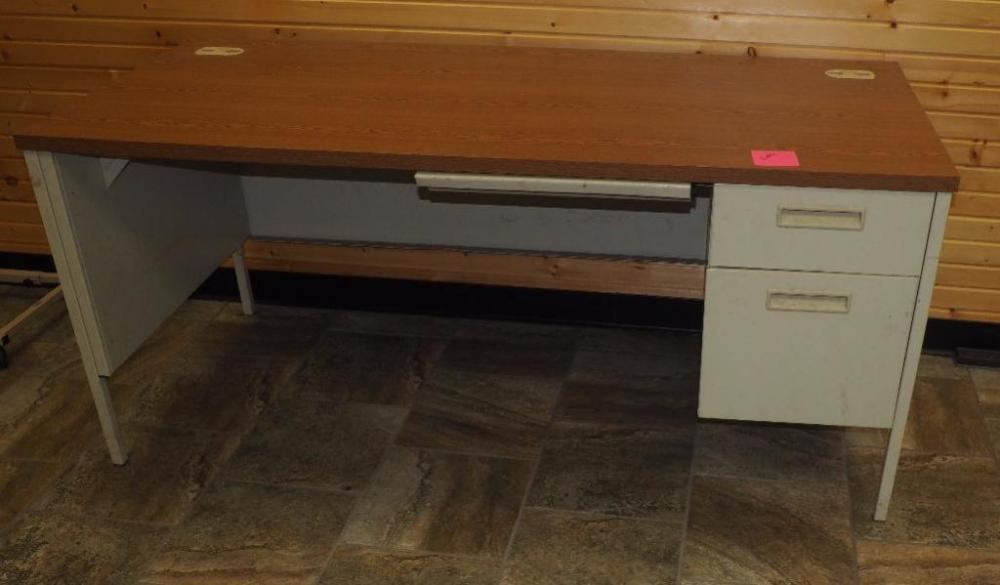Lot 19 Of 107 Hon Single Pedestal Metal Office Desk With Cable Ports And Pencil Drawer 29 25 H X 66 W 30 D