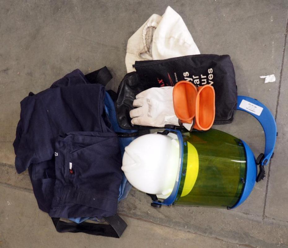 ee0ec560ffcd7 Lot 497 of 1545: National Safety Apparel ArcGuard Overalls And Jacket Size  L, Overalls New, Novax Rubber Insulating Gloves And Hard Hat Face Shield  Combo ...