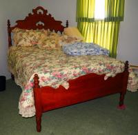 "Full Size Antique Bed, Bedding, Egg Crate Pad, Pillows And More, Ornately Carved / Turned Headboard And Footboard, 56""W"