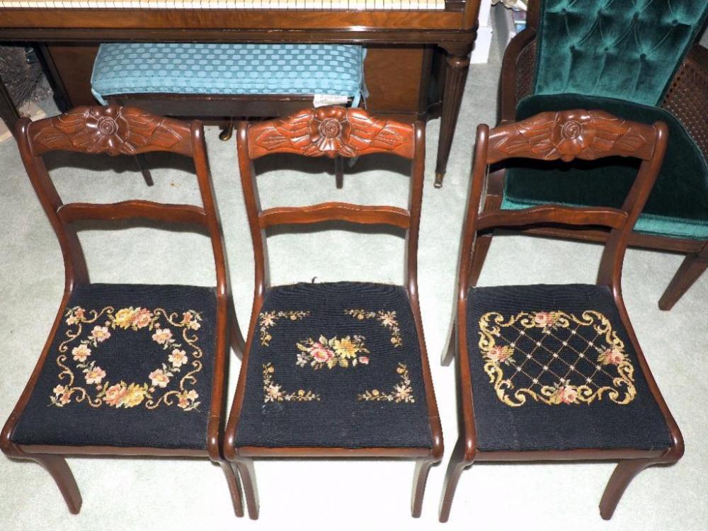 Lot 28 Of 321: Rosewood Chairs With Embroidered Seats, Qty 3, 1 Seat Damaged
