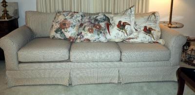 "Vintage 3 Cushion Couch, 84"" W, With Throw Pillows, Qty 4"