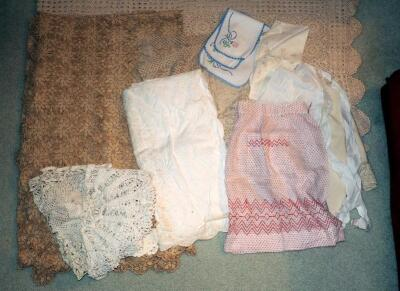 Antique Lace and Linen Tablecloths, Doilies, Waist Aprons, And More, Qty 19, Some Staining