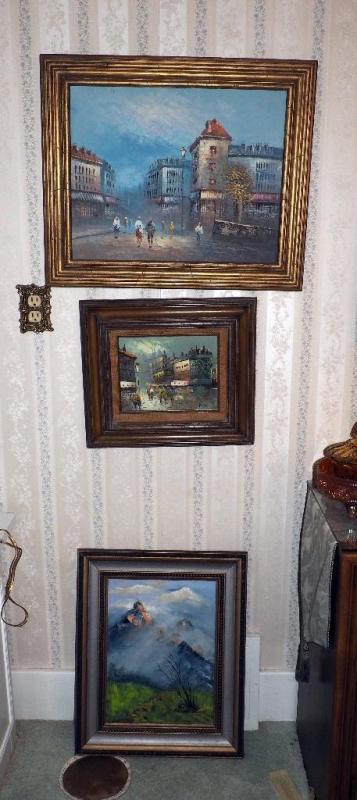 Framed Original Oil On Canvas Signed Bwante Framed Street Scene