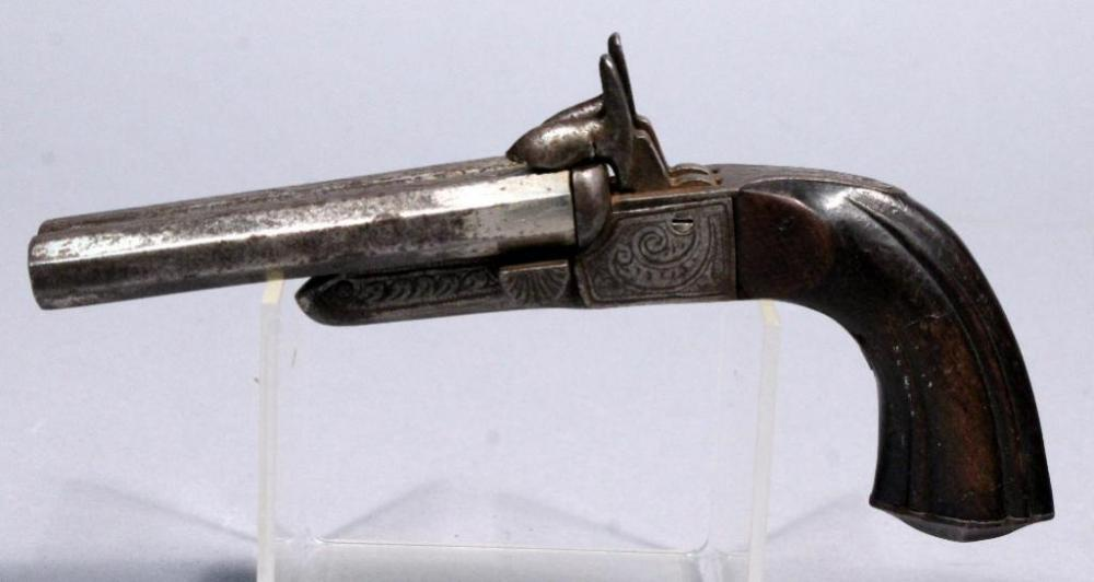 Lot 138 of 306: Antique Pinfire Double Barrel Side-By-Side Black Powder  Pistol, 360 GA/36 Cal, SN# Not Found