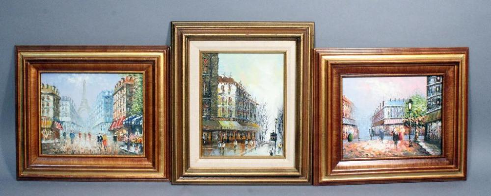 Caroline Burnett Original Oil on Canvas Parisian Street Scenes, Qty