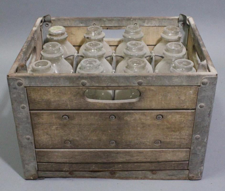 Goodrich Dairy Vintage Wood And Metal Milk Crate With 12 Glass Milk