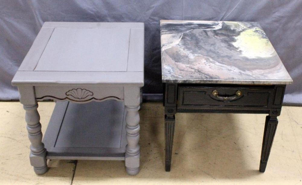 Martinsville Faux Marble Top Side Table