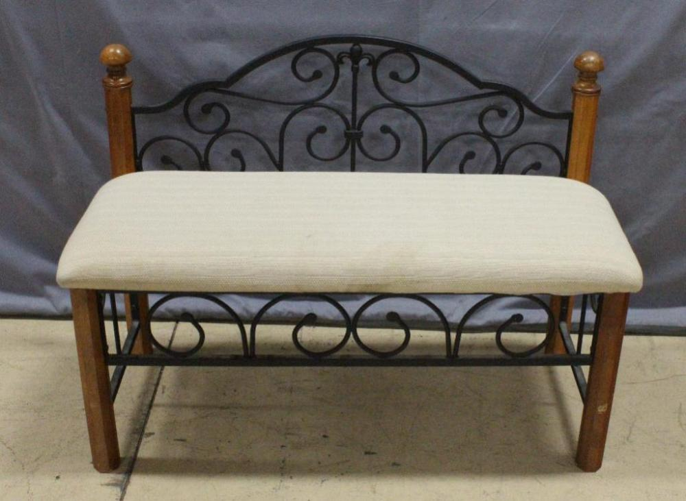 Strange Wood And Metal Scroll Framed Bench With Padded Upholstered Gmtry Best Dining Table And Chair Ideas Images Gmtryco