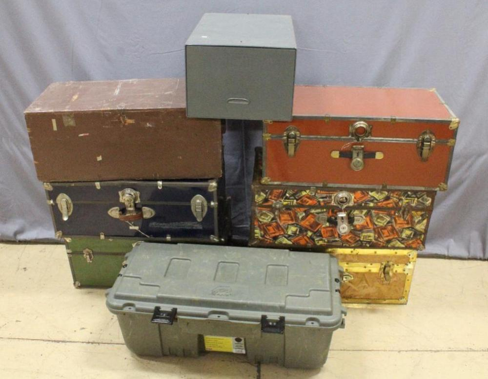 Vintage Trunks Qty 6 Plano Storage Containers with Wheels Qty 1