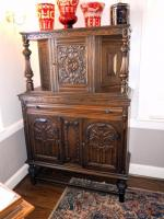 "Intricately Carved Old English / Jacobean Court Cabinet / Sideboard / Buffet / Hutch, 60.5""H x 40""W x 18""D, Contents Not Included"