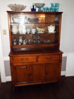 "Mid-Century China Hutch With Glass Doors, 64.25""H x 42""W x 17""D, Minor Water Damage, Loose Trim, Contents Not Included"