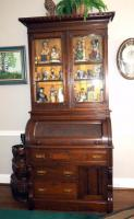 "Antique Barrel-Top Secretary With Glass Doors, Lower Storage, 85.5""H x 38.5""W x 22.75""D, Contents Not Included"