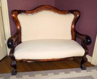 "Empire Antique Lion Paw Foot Love Seat / Sofa 44""H x 54""W, Nail Head Accents, Minor Water Damage"